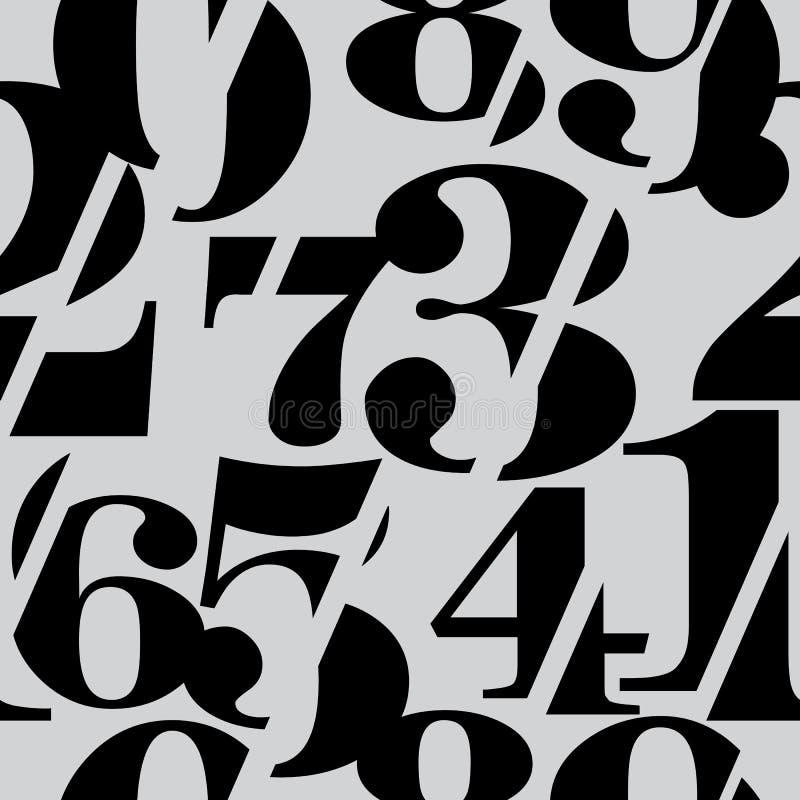 Skivade Serif Numbers Seamless Pattern, matematikbakgrund royaltyfri illustrationer