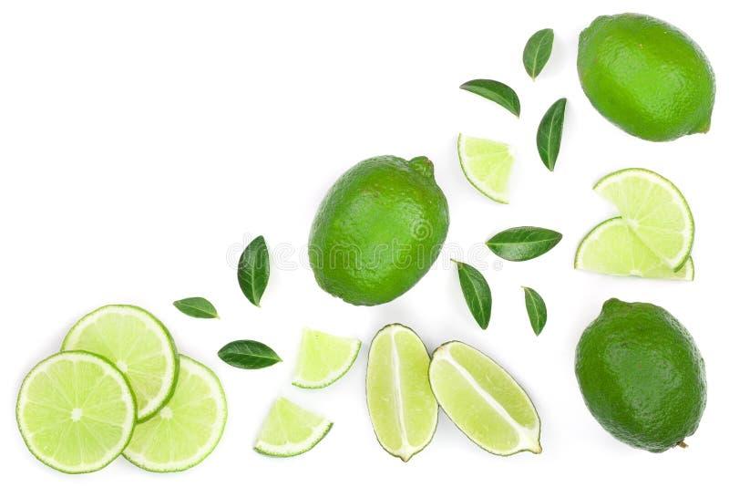 Skivade vith sidor för limefrukt som isoleras på vit bakgrund med kopieringsutrymme för din text Top beskådar Lekmanna- modell fö arkivfoton