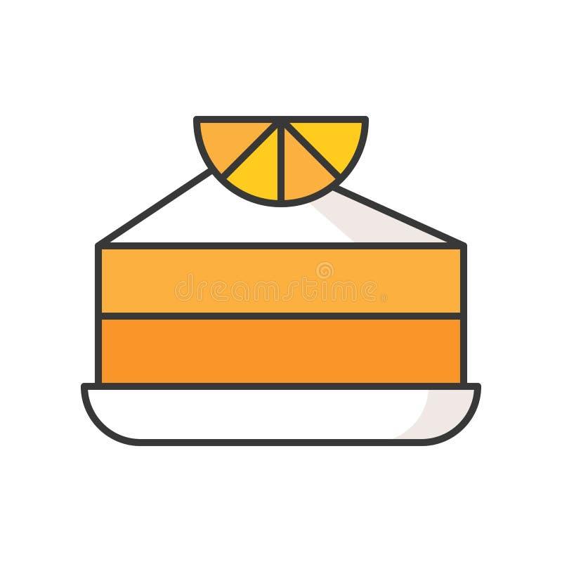 Skivan av den orange kakan, sötsaker och bakelseuppsättning, fyllde översiktssymbolen royaltyfri illustrationer