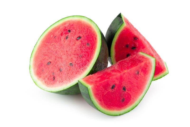 Skivat av vattenmelon som isoleras på vit bakgrund royaltyfria foton