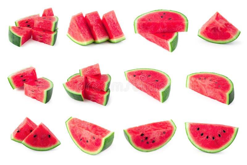 Skivat av vattenmelon som isoleras på vit bakgrund arkivbilder
