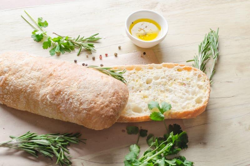 Skivat bröd Ciabatta arkivbilder