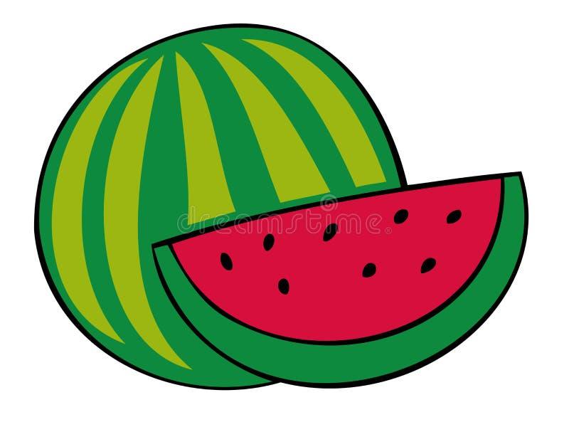 skivavattenmelon stock illustrationer