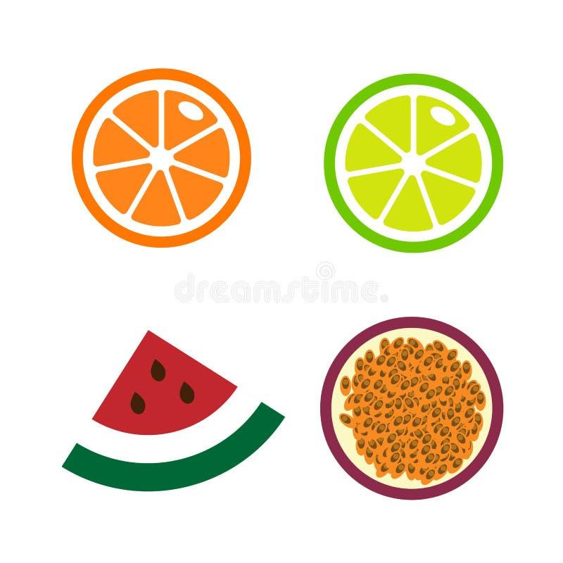 Skivor av apelsiner, limefrukt, vattenmelon, passionfrukt Samlingen av den nya mogna illustrationen för fruktsymbolsvektorn isole stock illustrationer