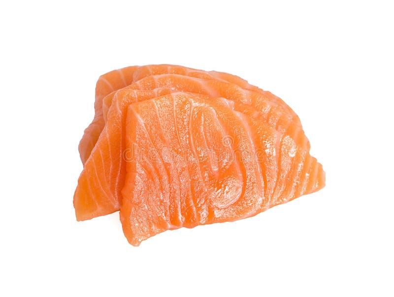 Skivor av r? Salmon Fillet Isolated p? b?sta sikt f?r vit bakgrund royaltyfri bild