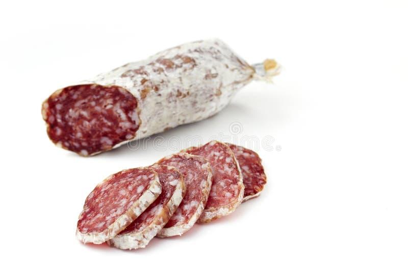 Skivor av salami royaltyfri fotografi
