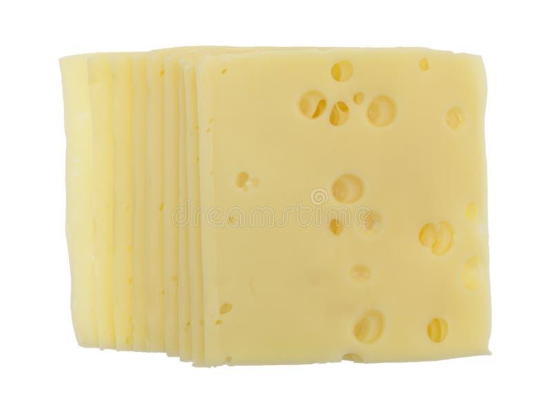 Skivor av schweizisk ost för låg natrium royaltyfri fotografi