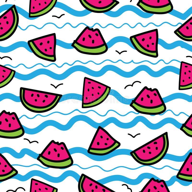 Skivor av vattenmelon på tecknad film vinkar bakgrund Sömlös modell i hand dragen stil Blått rosa färger, gräsplan, svart översik stock illustrationer
