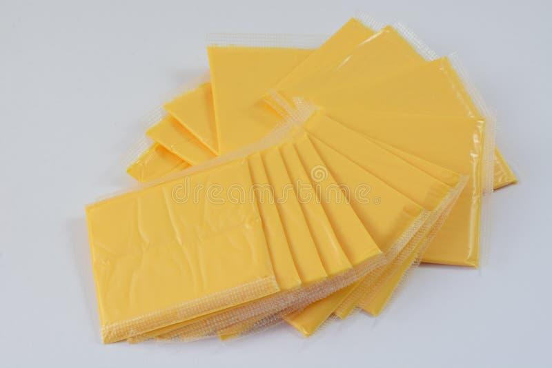 Skivor för amerikansk ost royaltyfri fotografi