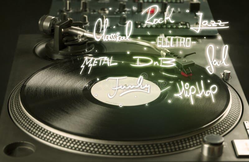 Skivtallrik med skriftliga vinyl- och musikgenrer arkivfoto