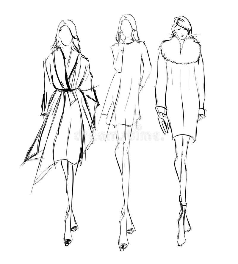 skizze Art und Weisemädchen lizenzfreie abbildung