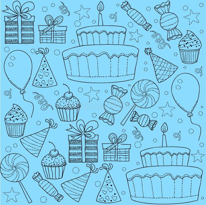 Skizze Clipart-Satz der Geburtstagsfeier stock abbildung