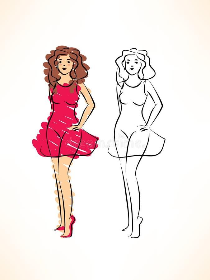 Skizze der hübschen Frau im roten Kleid vektor abbildung