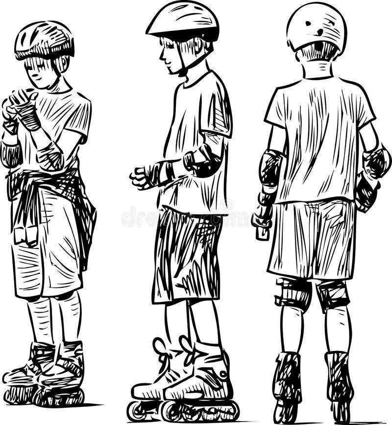Skizze der jugendlich Jungen auf den Rollen stock abbildung