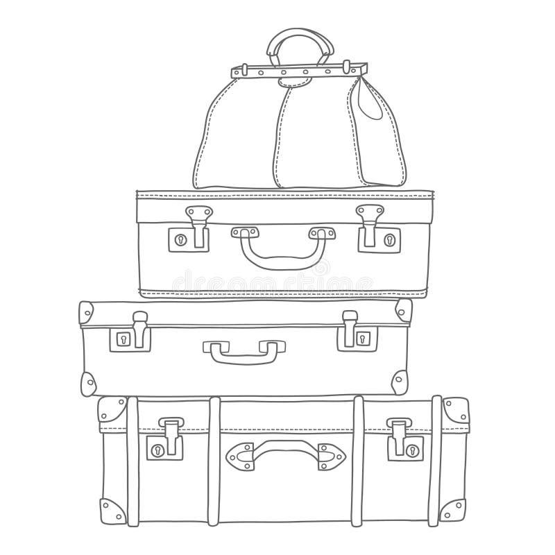 Skizze der Koffer auf weißem Hintergrund stock abbildung