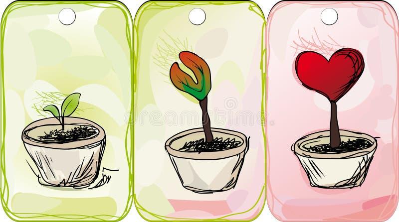 Skizze der Liebesblumenmarke stock abbildung