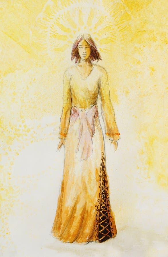 Skizze der mystischen Frau im schönen dekorativen Kleid spornte durch Mittelalterdesign, mit dekorativem Muster auf Hintergrund a vektor abbildung