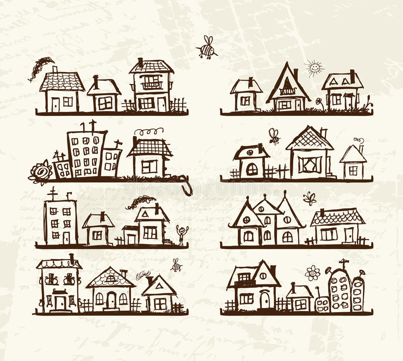 Skizze der netten Häuser auf Regalen für Ihre Auslegung vektor abbildung
