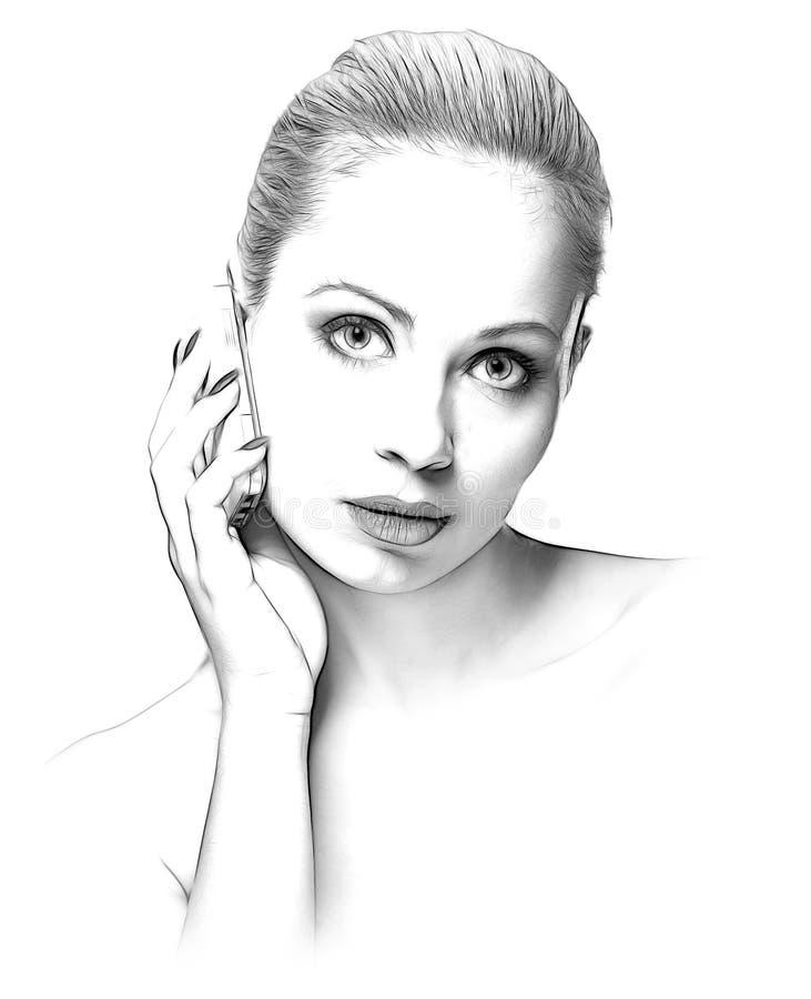 Skizze der Schönheitsfrau mit einem Handy lizenzfreie stockfotos