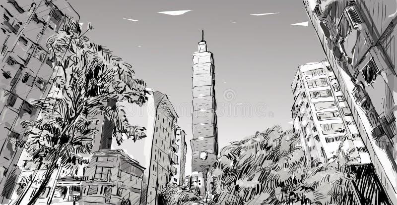 Skizze der städtischen Straßenansicht der Stadtbildshow in Taiwan, Taipeh lizenzfreie abbildung