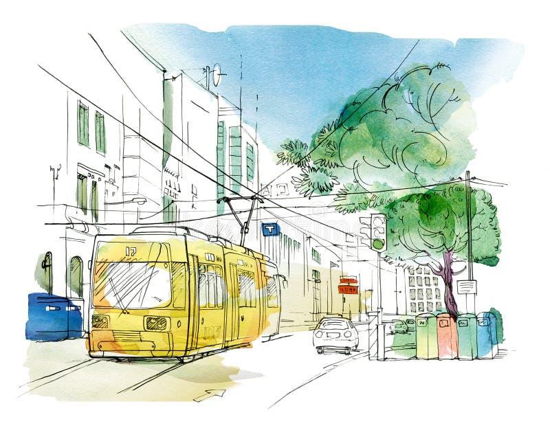 Skizze der Stadtlandschaft mit einer gelben Laufkatze, einem Auto, einer Ampel und Beh?ltern f?r unterschiedliche Sammlung Abfall vektor abbildung