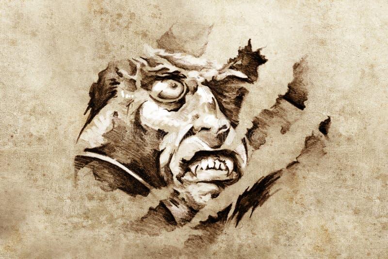 Skizze der Tätowierungkunst, Vampir in der Nacht stock abbildung
