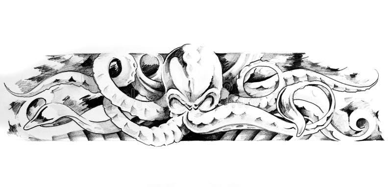 Skizze der tatto Kunst, Krake vektor abbildung