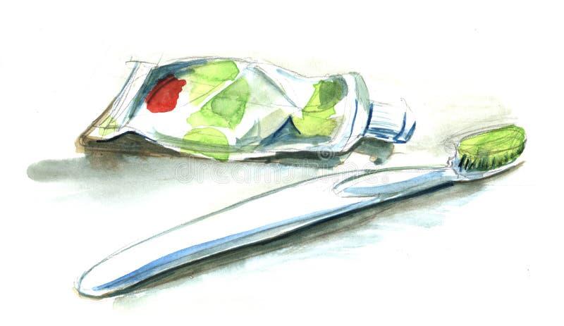 Skizze der weißen grünen Zahnbürste und des Rohrs der Zahnpasta Wahres w lizenzfreie abbildung