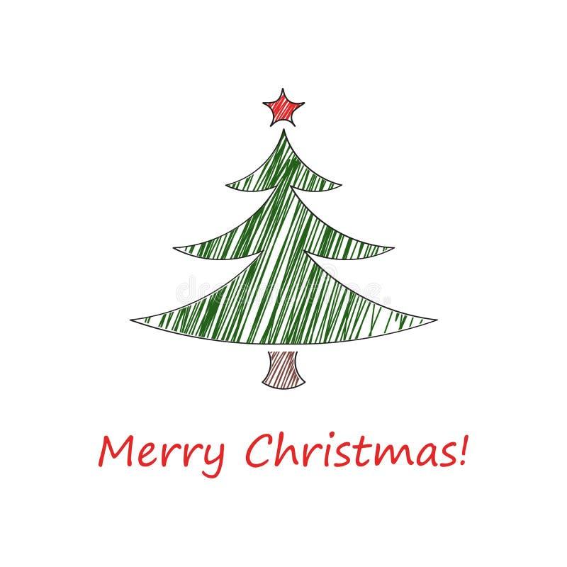 skizze der weihnachtskarte tannenbaum mit einem roten. Black Bedroom Furniture Sets. Home Design Ideas