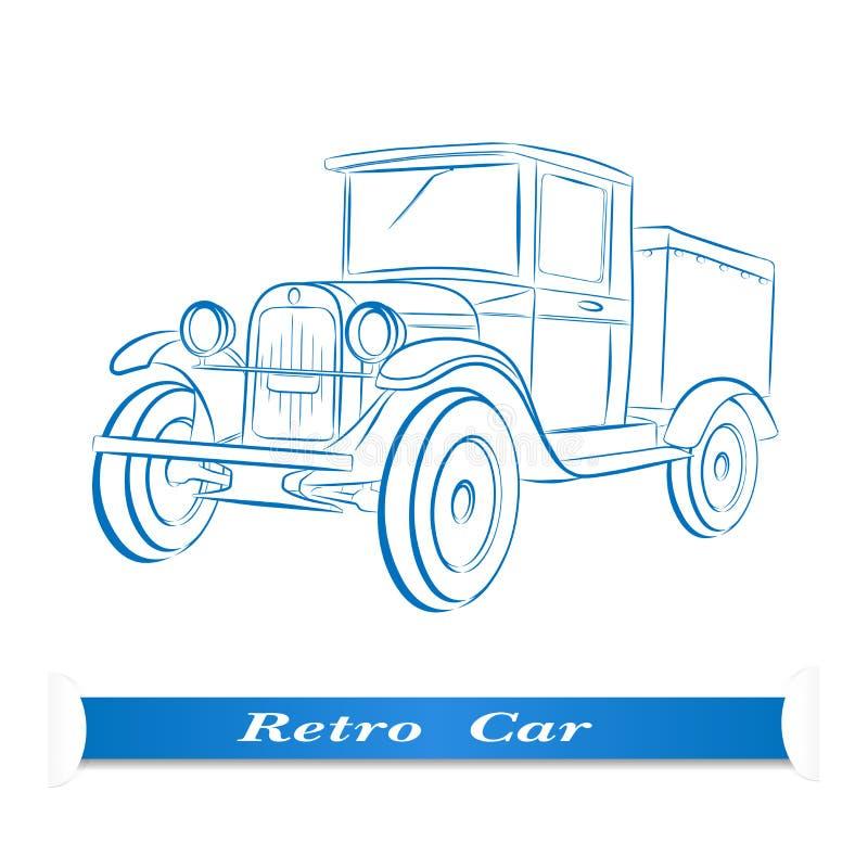 Skizze des alten Autos vektor abbildung. Illustration von retro ...