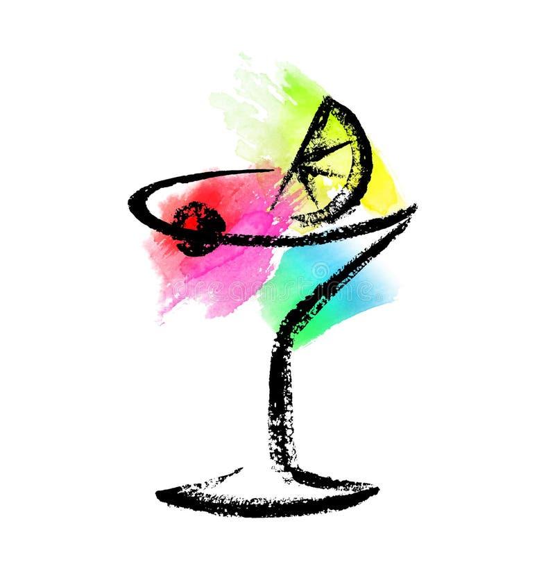 Skizze des Cocktailglases auf einem Aquarellspritzenhintergrund vektor abbildung