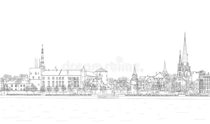 Skizze des Daugava-Dammes lizenzfreie abbildung