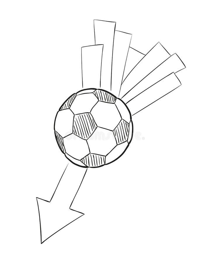 Skizze des Fliegenfußballballs mit Pfeil stock abbildung
