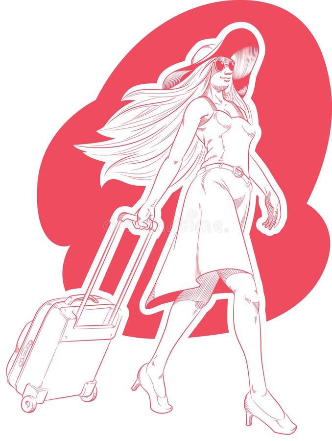 Skizze des Frauen-touristischen Reisens stock abbildung