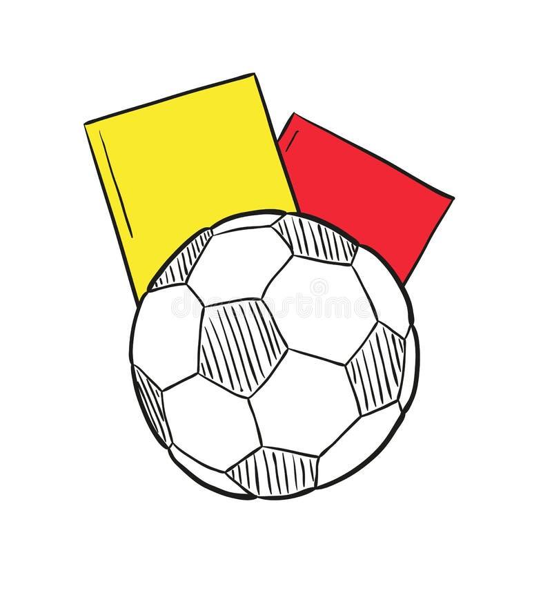 Skizze des Fußballballs und zwei Karten stock abbildung
