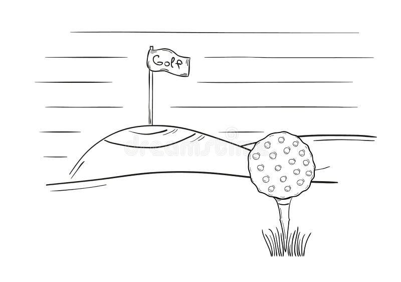 Skizze des Golfballs und der Flagge vektor abbildung