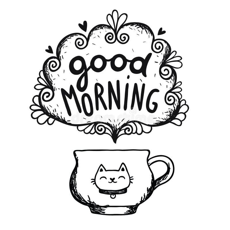 Skizze des gutenmorgens mit Tasse Kaffee und Katze stockfotografie