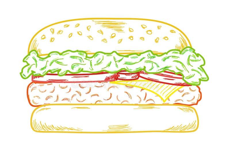 Skizze des Hamburgers lizenzfreie abbildung