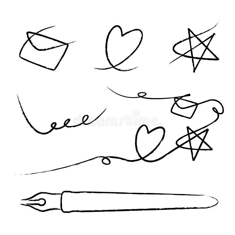 Skizze des Herzens und des Sternes stock abbildung