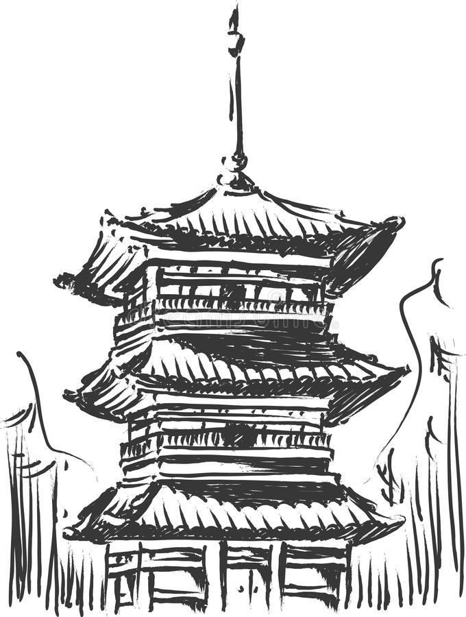 Skizze des Japan-Grenzsteins - Kiyomizu Tempel lizenzfreie abbildung