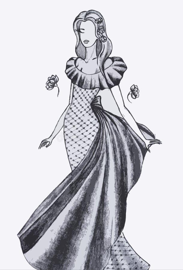 Skizze des Kleides der Frauen vektor abbildung
