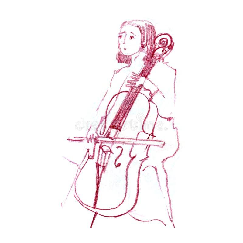 Skizze des Mädchens das Cello, Cellisten, Musiker, gezeichnete Bleistiftillustration der Musik spielend Hand vektor abbildung