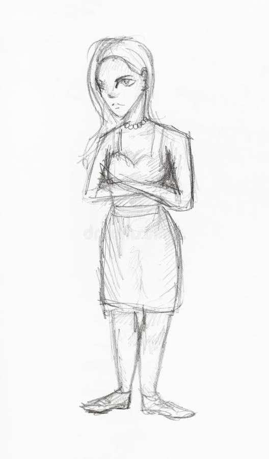 Skizze des Mädchens mit dem langen Haar in den sundress vektor abbildung