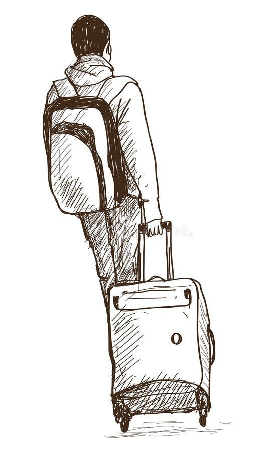 Skizze des Mannes mit Koffern, Hand gezeichnete Vektorillustration lizenzfreie abbildung