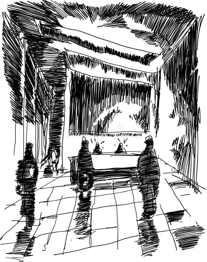 Skizze des modernen abstrakten Innenraums der Eingangshalle vektor abbildung