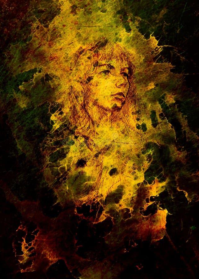 Skizze des mutigen Gesichtes der jungen Frau auf Zusammenfassung beschmutzte Hintergrund lizenzfreie abbildung