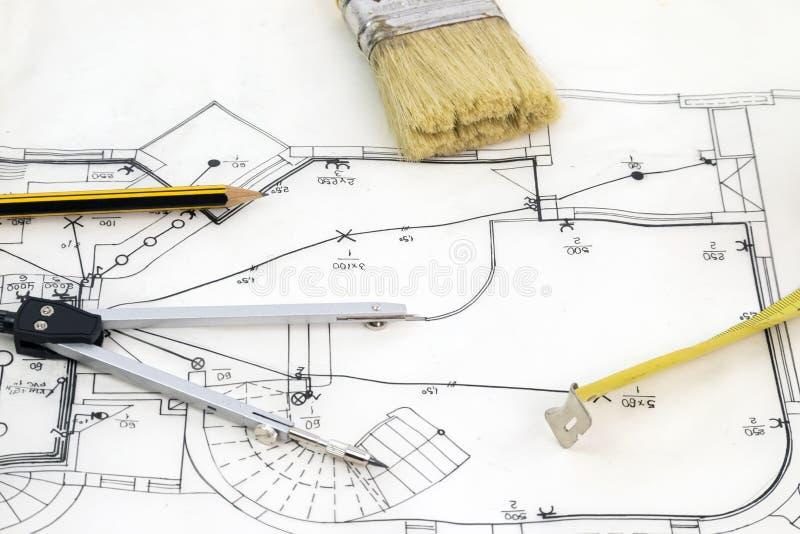 Skizze des neuen Hauses lizenzfreies stockfoto