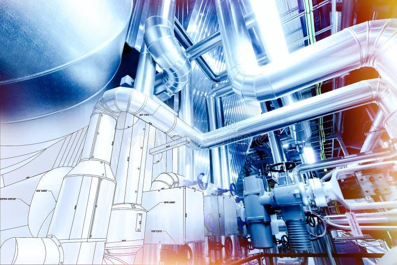 Skizze des Rohrleitungsdesigns mischte mit Foto der industriellen Ausrüstung lizenzfreies stockbild