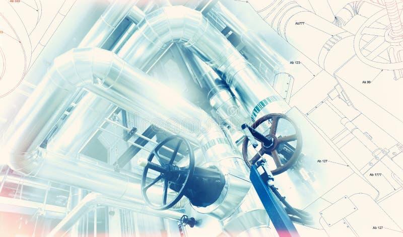 Skizze des Rohrleitungsdesigns mischte mit Foto der industriellen Ausrüstung stockbild