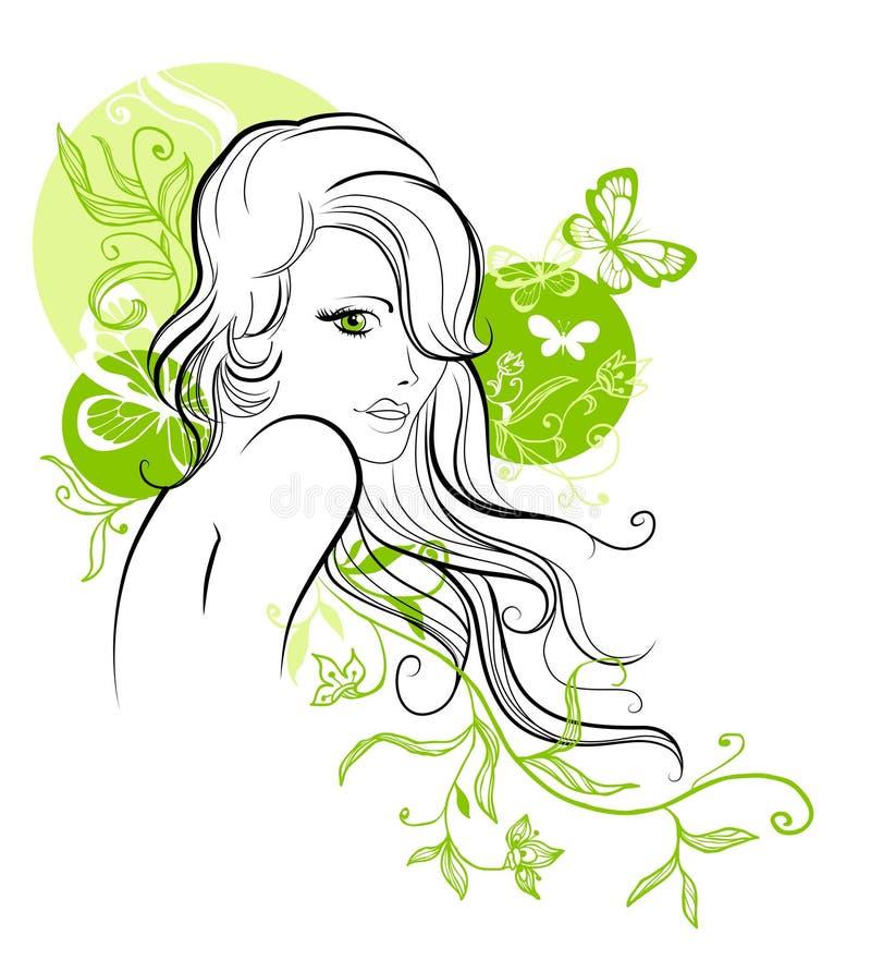 Skizze des schönen Blumenmädchens lizenzfreie abbildung